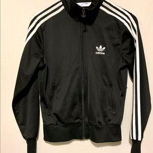 Adidas Black & White Stripe Zip Up Sweater